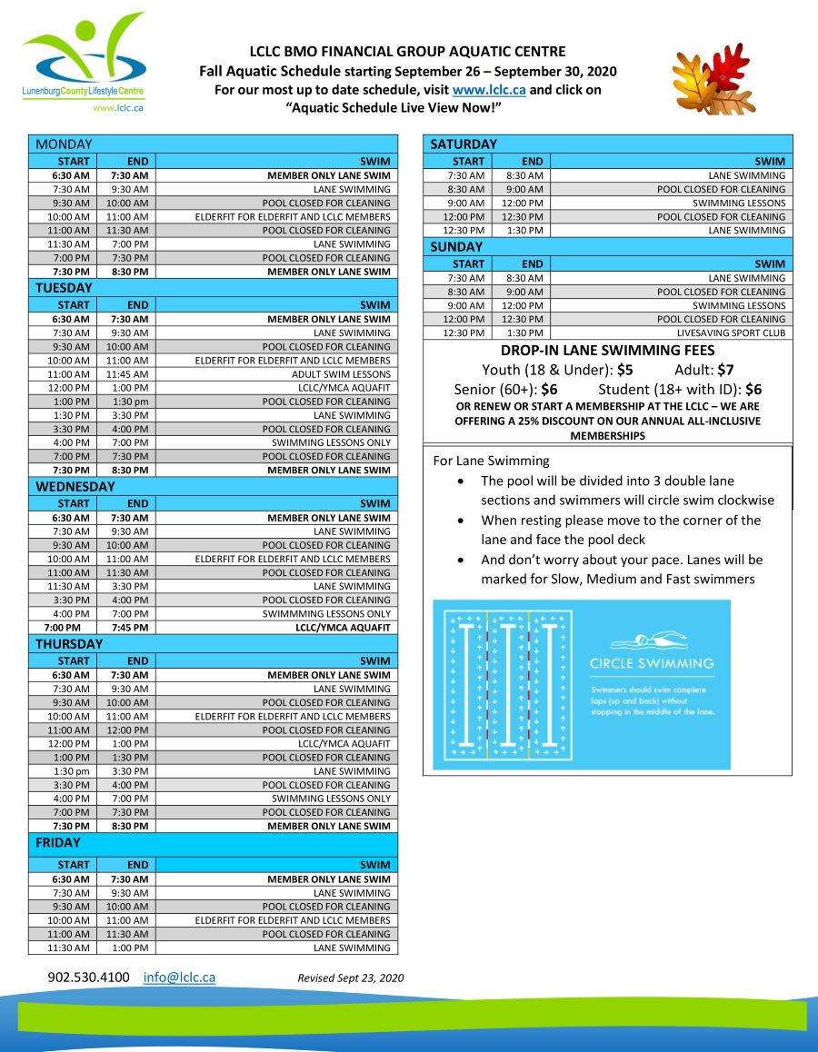 Fall SWIM and Class SCHEDULE Starting Friday Sept 11th 1 web