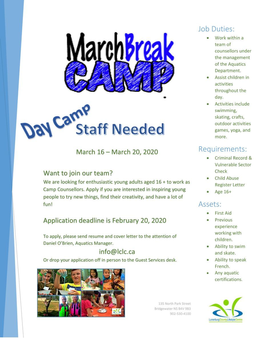 MARCH BREAK DAY CAMP staff needed 2020 WEB
