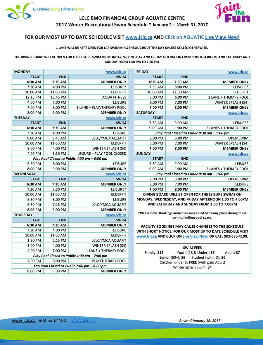 Lunenburg County Lifestyle Centre Swim Schedule